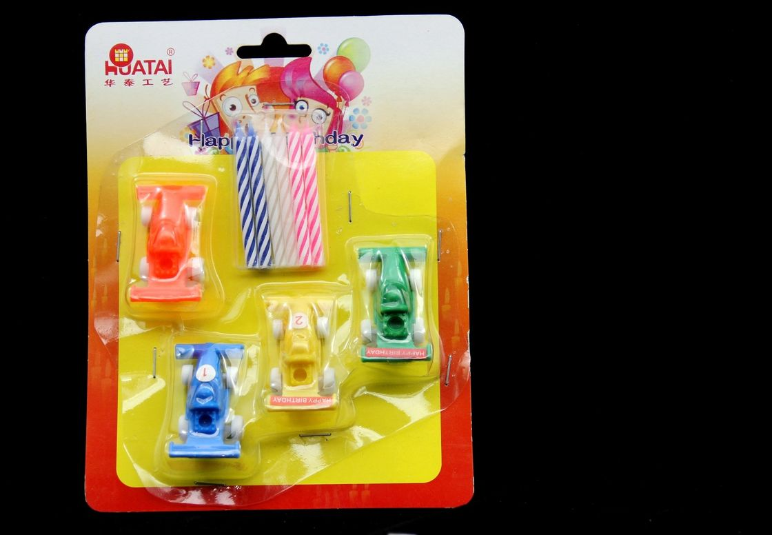 Cute Spiral Birthday Candles Sets With Racing Plastic Holder Dripless Unscented