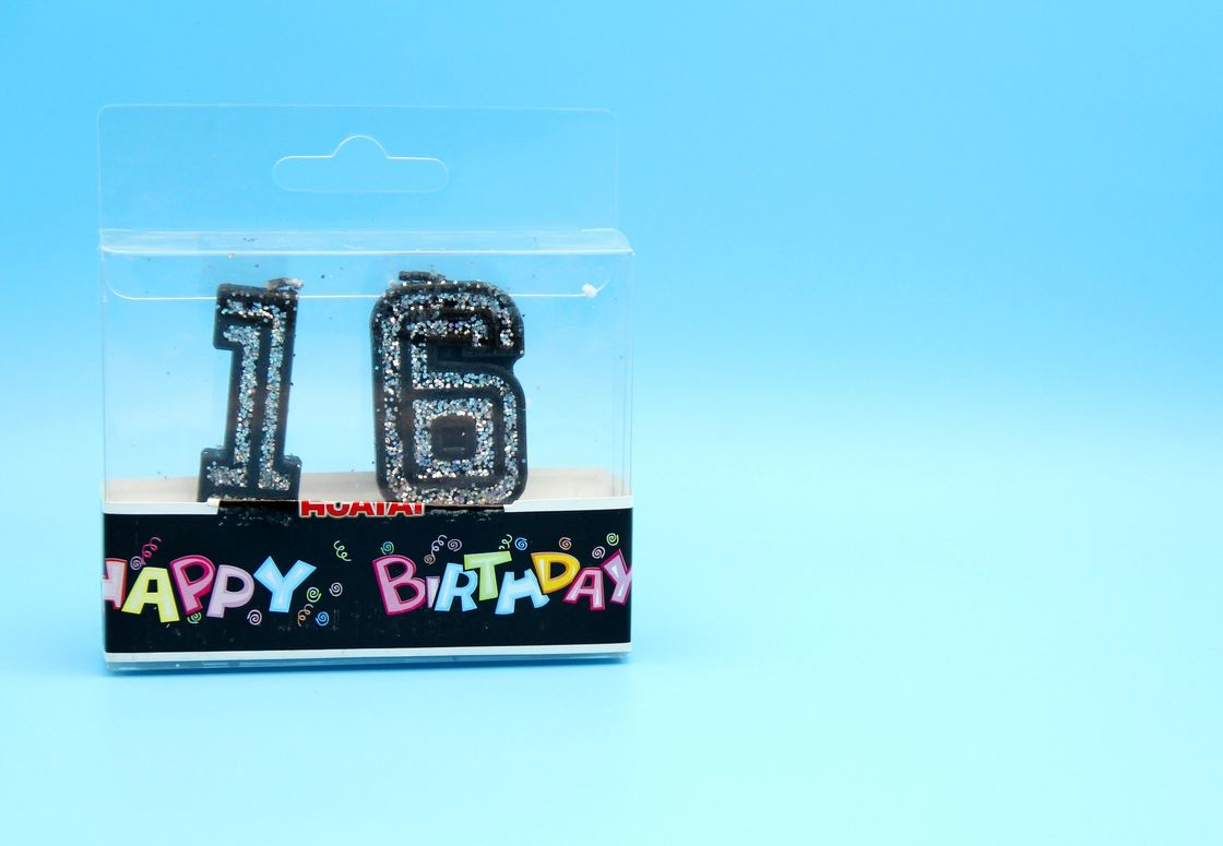 Handmade Glitter Black Birthday Candles With Silver Laser Paillette Customized Logo