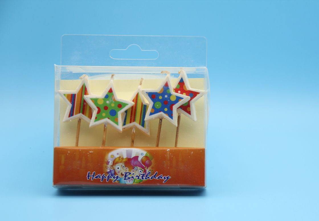 Colorful  Painting Star Shaped Birthday Candles Long Burning Paraffin Material