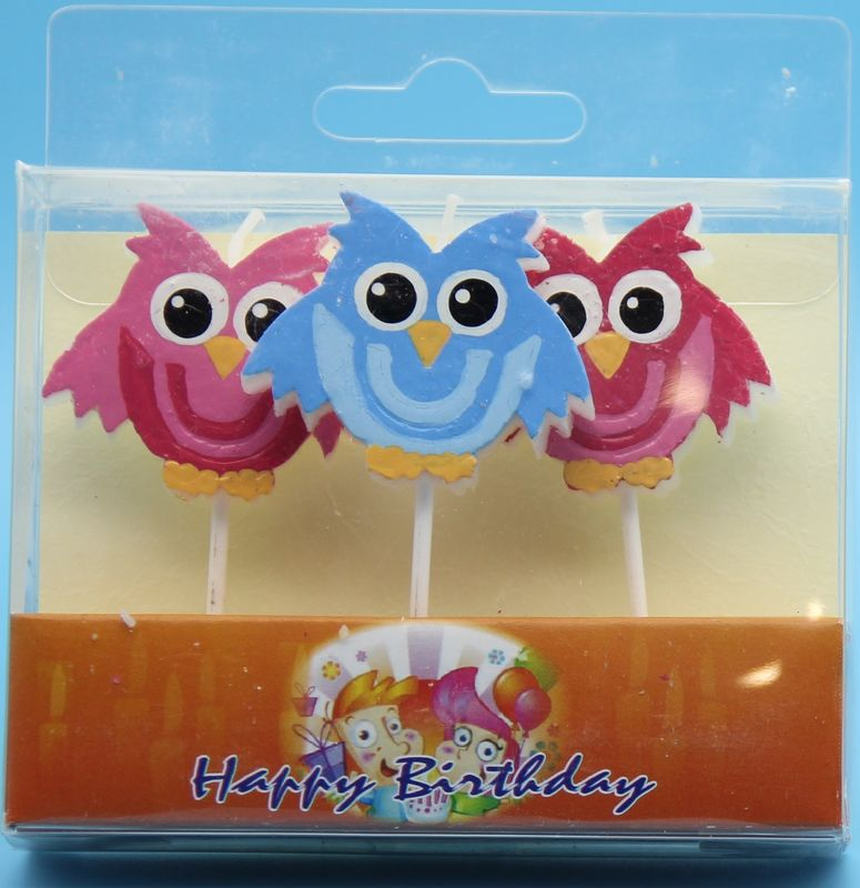 3 Little Owl Shaped Birthday Candles With Colorful Painting And White Plastic Toothpick
