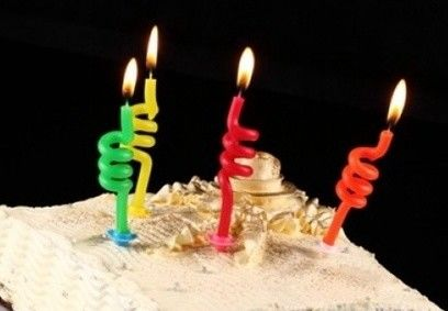 Customized  Thin Twisted Birthday Candles With Paraffin Wax Material SGS Approval