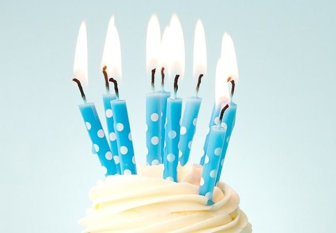 10pcs Blue Color Printable Birthday Candles With White Dots Painted Unscented
