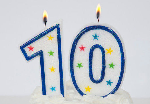 Hand Painting Decorative Number 10 Birthday Candle With Blue Line Egde No Drip
