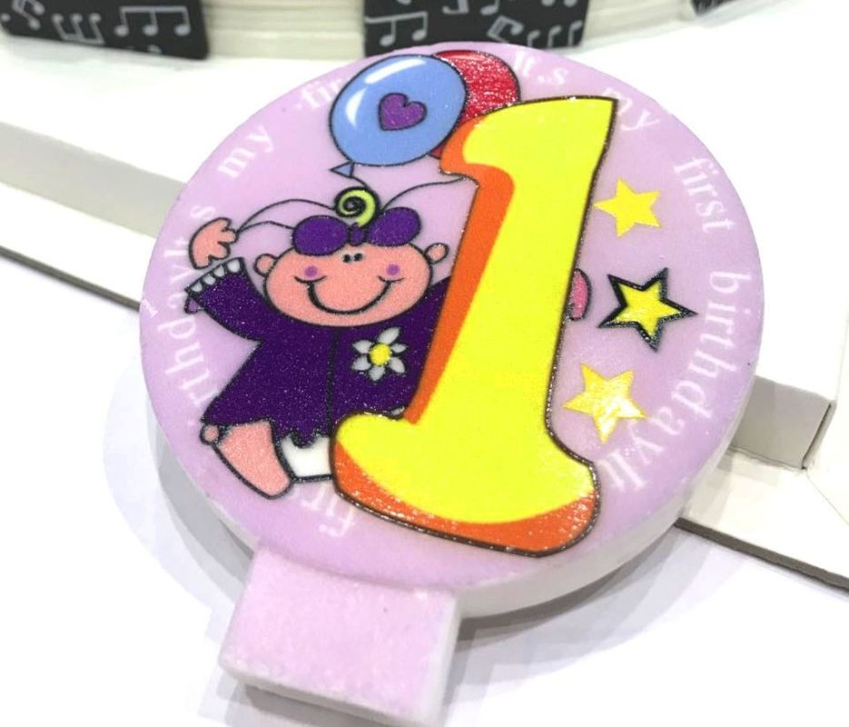 Specialty Round Numeral Candles For Birthdays With Colored Background Star Printed