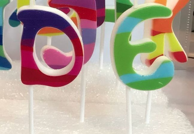 Multi Colored Letter Birthday Candles 100% Paraffin With White Plastic Holder
