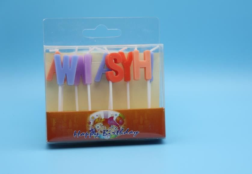 Multi Colored Personalised Letter Birthday Candles For Cakes Decoration Eco Friendly