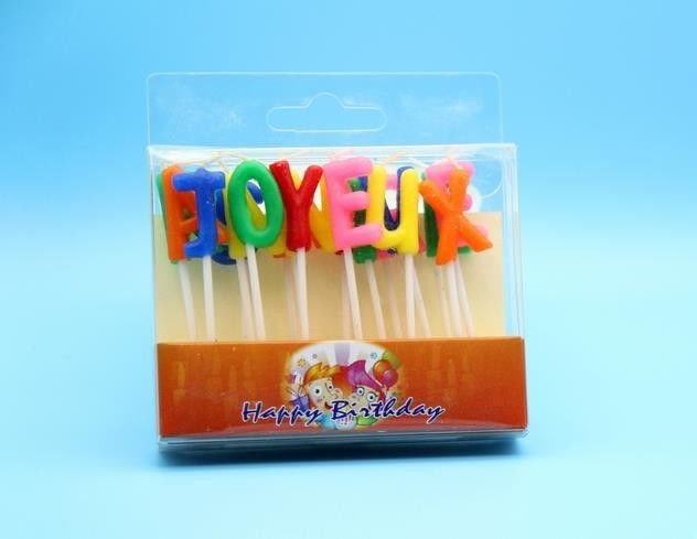18pcs Random Colors Franch Happy Birthday Letter Candles SGS /  ISO9001