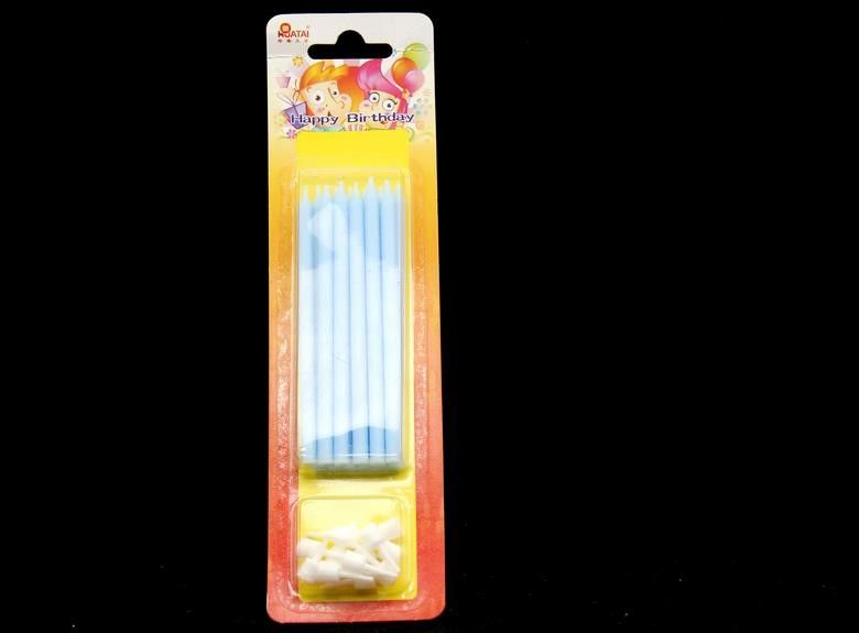 Paraffin Wax Skinny Long Birthday Candles , Blue Color Tall Candles For Cake